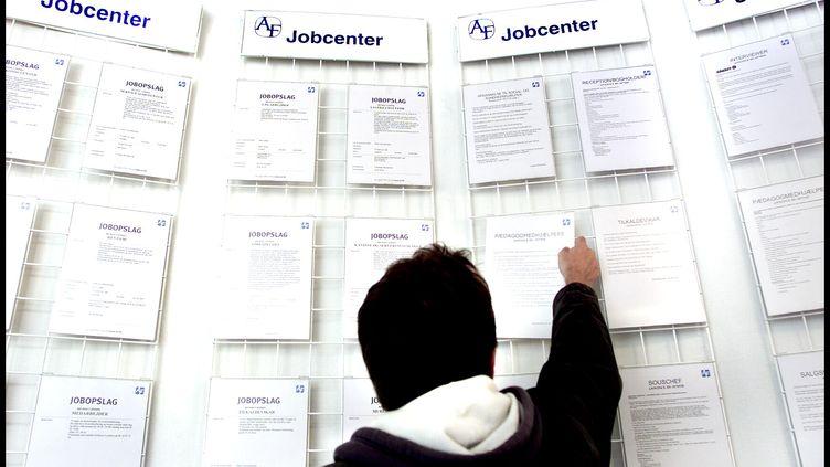 Un chômeur danois cherche du travail dans une agence pour l'emploi à Copenhague (Danemark), le 6 juin 2005. (BARDUR EKLUND / SCANPIX-FILES)