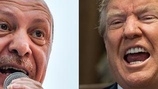 Le président turc Recep Tayyip Erdogan (gauche) et le président américain Donald Trump (droite). (BULENT KILIC / AFP)