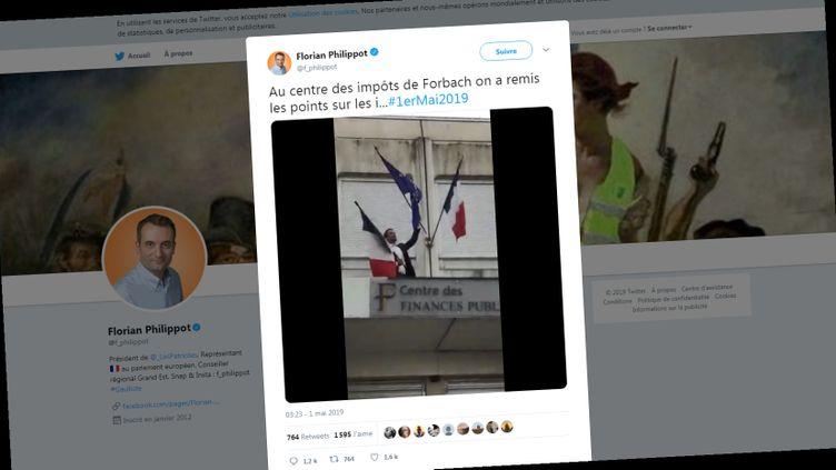 Tweet publié mercredi 1er mai 2019 par Florian Philippot, candidat aux élections européennes. (FLORIAN PHILIPPOT / TWITTER)