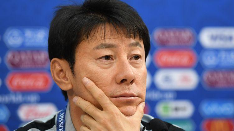 Le sélectionneur de la Corée du Sud, Shin Tae-yong, lors d'une conférence de presse, àNizhny Novgorod (Russie), le 17 juin 2018. (DIMITAR DILKOFF / AFP)