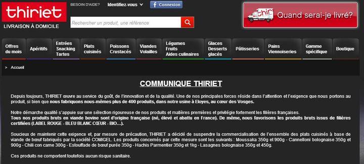 Capture d'écran du site de Thiriet. ( FRANCETV INFO)