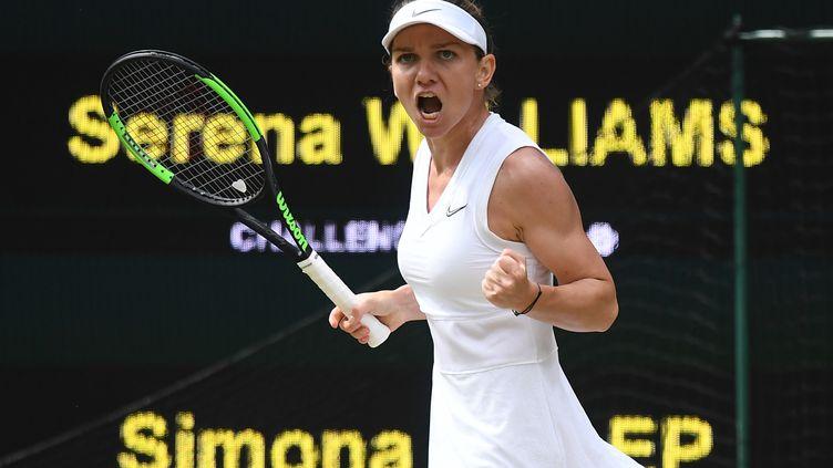 Simona Halep, samedi 13 juillet à Londres lors de la finale du tournoi de Wimbledon face à Serena Williams. (BEN STANSALL / AFP)