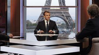 Emmanuel Macron lors de son interview télévisée au palais de Chaillot le 16 avril 2018. (FRANCOIS GUILLOT / AF¨P)