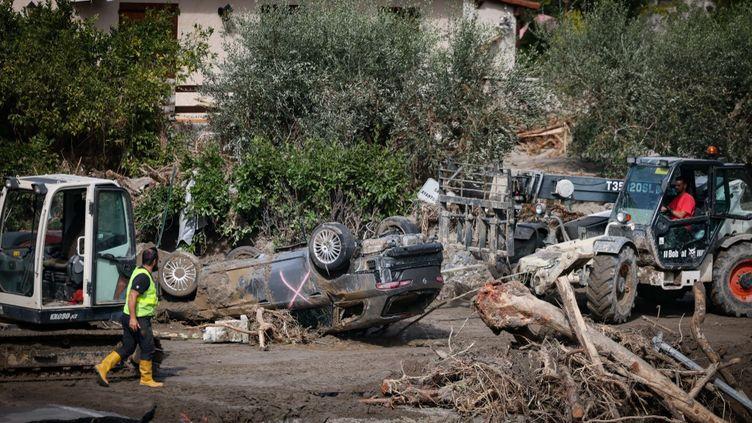 Le village de Breil-sur-Roya a été particulièrement touché pendant les intempéries de la tempête Alex, le 2 octobre 2020. (ARIE BOTBOL / HANS LUCAS / AFP)