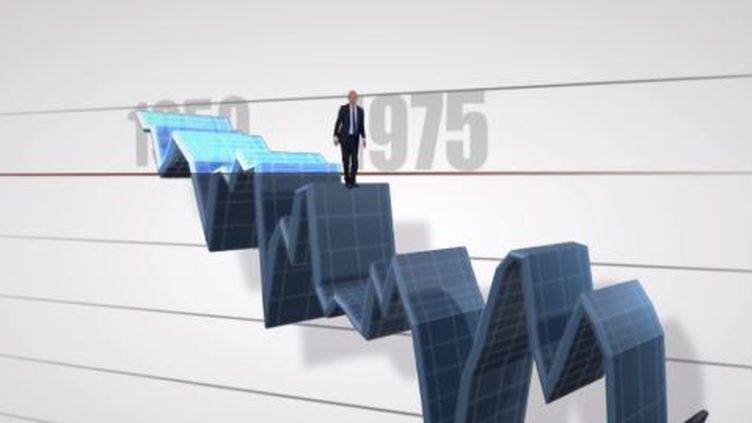 La courbe en 3D du déficit en France représentée par François Lenglet, éditorialiste de France 2 - avril 2014. ( FRANCE 2 / FRANCETV INFO)