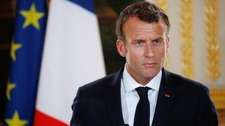 Emmanuel Macron, le 28 mai 2018 à l'Elysée (Paris). (PHILIPPE WOJAZER / AFP)