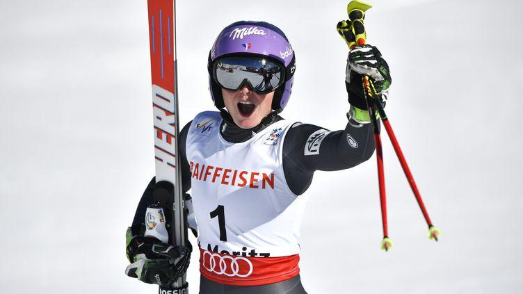 Tessa Worley, première française depuis 1993 à remporter le globe de géant. (FABRICE COFFRINI / AFP)