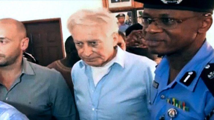 L'ex-otage français Francis Collomp à Kaduna, au Nigeria, le 17 novembre 2013. (GEORGE EMMANUEL / AFP TV)