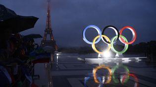 Les anneaux olympiques sur le Trocadéro, le soir de l'annonce de l'organisation des Jeux olympiques à Paris en 2024, le 13 septembre 2017. (CHRISTOPHE SIMON / AFP)