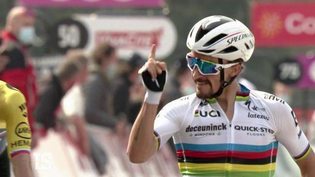 En septembre 2020, Julian Alaphilippe marquait l'histoire en devenant champion du monde de cyclisme.Le puncheur français a bien honoré le maillot arc-en-ciel à coups de performances prestigieuses.Retour sur une année de haut-vol.