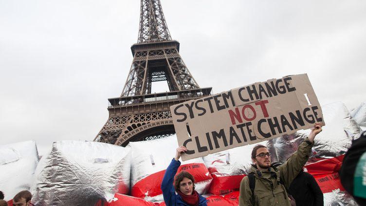 Des manifestants écologistes défilentdevant la tour Eiffel, samedi 12 décembre 2015, à Paris. (ANDRE LARSSON / NURPHOTO / AFP)