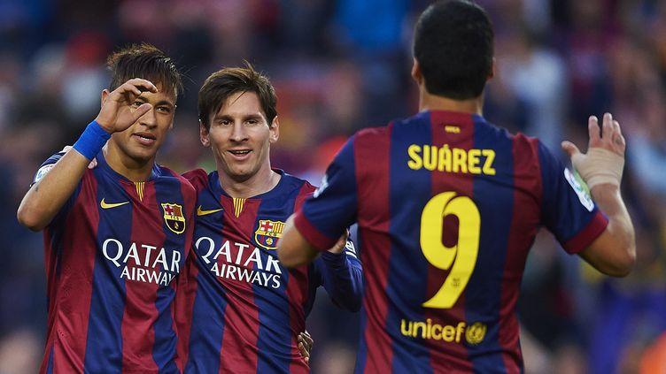 Le trio offensif du FC Barcelone, Neymar, Messi et Suarez (S.LAU / GRUPPO/S. LAU)