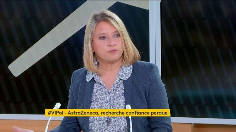L'infectiologue Karine Lacombe, sur franceinfo, le 8 avril 2021. (FRANCEINFO)