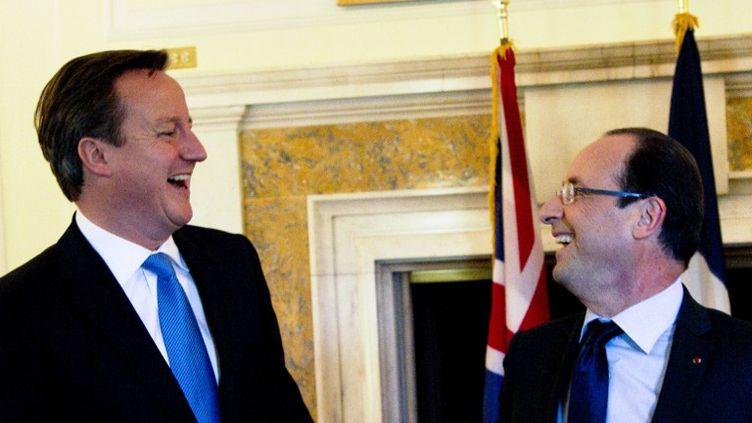 Le Premier ministre britannique, David Cameron, et le président français, François Hollande, le 18 mai 2012 à Washington (Etats-Unis). (CHRISTOPHE ENA / AFP)