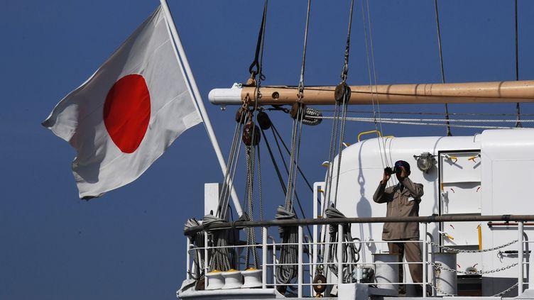 """Un drapeau japonais sur le voilier """"Kaiwo Maru"""", le 14 septembre 2018. (VITALIY ANKOV / AFP)"""