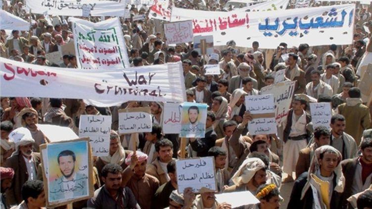Des milliers de Yéménites manifestent contre le régime du président Ali Abdallah Saleh, à Sanaa, le 2 février 2011. (AFP)