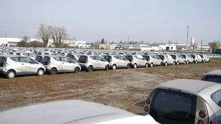 Des centaines d'Autolib' hors d'usage sur un terrain vague de Romorantin-Lanthenay (Loir-et-Cher), le 10 mars 2021. (PIERRE-LOUIS CARON / FRANCEINFO)