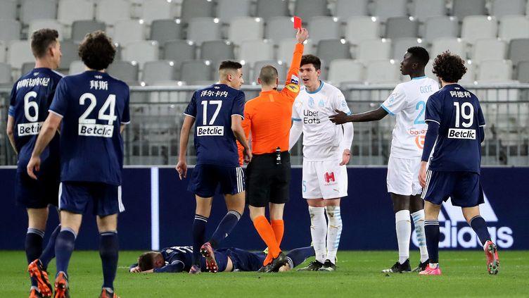 Leonardo Balerdi a été expulsé contre Bordeaux (ROMAIN PERROCHEAU / AFP)