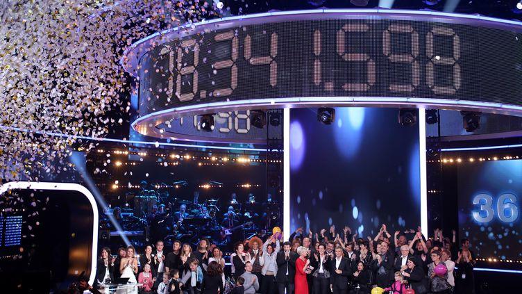 Le compteur du Téléthon affiche plus de 78 millions d'euros, le 8décembre 2013. (KENZO TRIBOUILLARD / AFP)