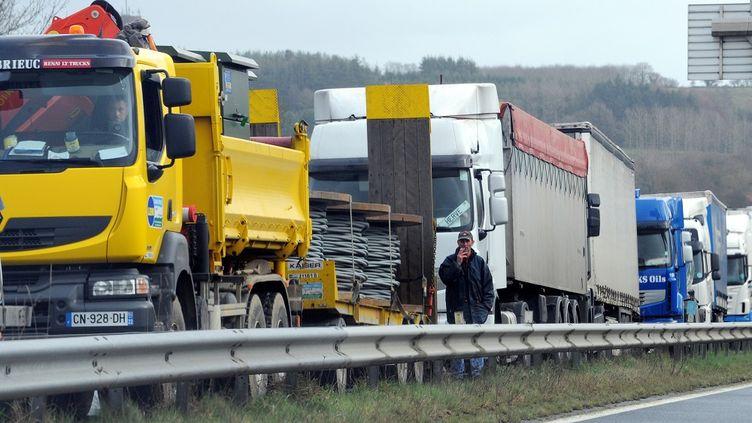 Une grève des routiers à Plounevez-Moedec (Côtes-d'Armor), le 28 janvier 2015, quiréclament une hausse de salaires. (FRED TANNEAU / AFP)