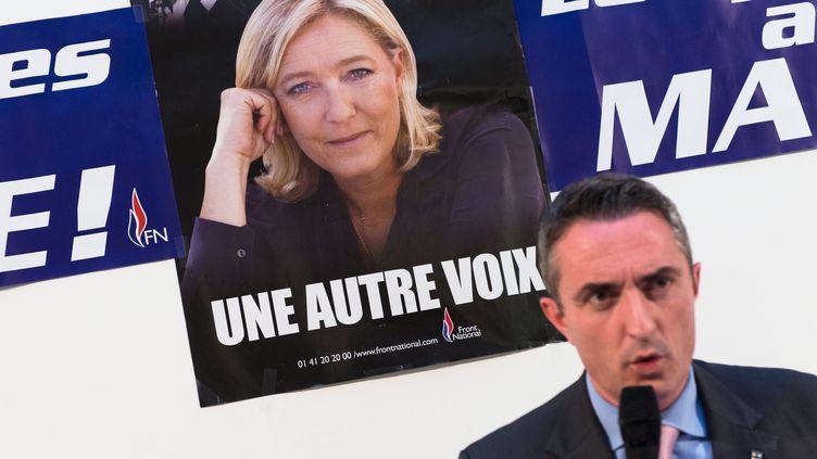 Le maire FN des 13e et 14e arrondissements de Marseille, Stéphane Ravier, lors d'une conférence de presse, le 15 janvier 2015. (  MAXPPP)