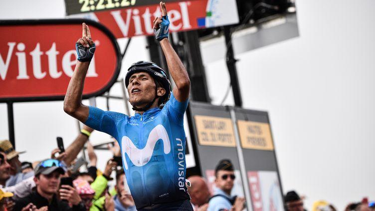 Le Colombien Nairo Quintana remporte la 17e étape du Tour de France à Saint-Lary-Soulan, le 25 juillet 2018. (JEFF PACHOUD / AFP)