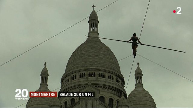 Montmartre: la traversée sur un fil d'une funambule