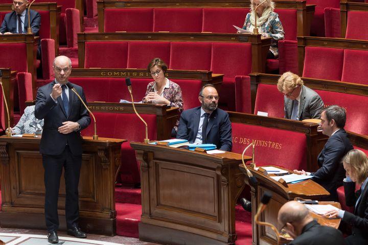 Le ministre de l'Education nationale, Jean-Michel Blanquer, à l'Assemblée nationale, à Paris, le 21 avril 2020. (JACQUES WITT / POOL / AFP)