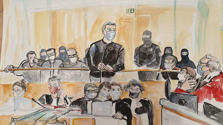L'accusé Amar Ramdani au procès des attentats de janvier 2015, le 7 octobre 2020. (ELISABETH DE POURQUERY / FRANCEINFO)