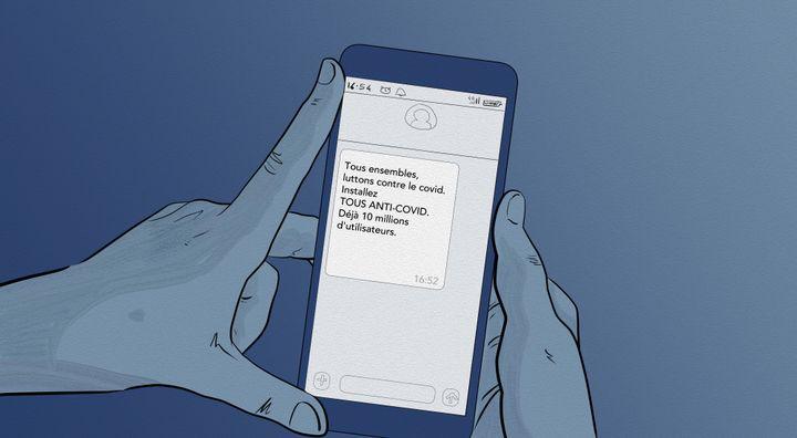 Message diffusé par texto incitant à téléchargerTousAntiCovid. (NICOLAS DEWIT / RADIO FRANCE)