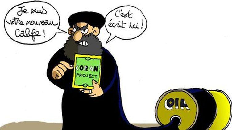 Caricature d'Abou Bakr Al-Baghdadi, chef de l'organisation djihadiste Daech, demandant aux musulmans de lui «obéir» (Blog DEBATunisie)