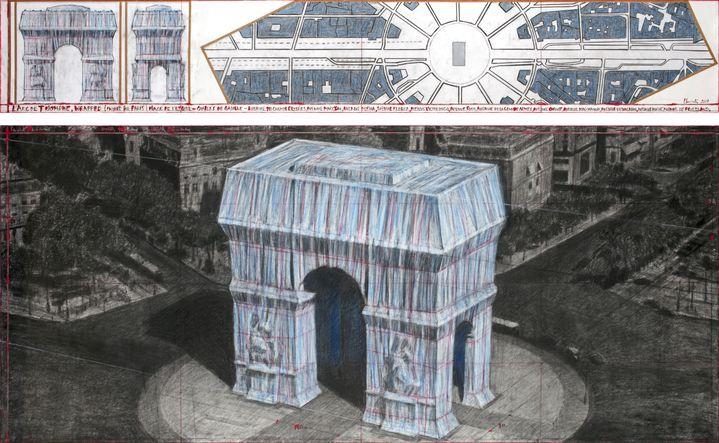 Un dessin de travail montrant le projet d'empaqueter l'Arc de Triomphe, qui sera réalisé par l'artiste américain Christo en 2020 à Paris. (AFP PHOTO / CHRISTO AND JEANNE-CLAUDE - 2019 CHRISTO / ANDRE GROSSMANN)