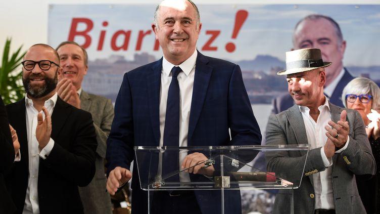 Le ministre de l'Agriculture Didier Guillaume, le 11 janvier 2020 à Biarritz, lors de l'annonce de sa candidature aux prochaines municipales. (GAIZKA IROZ / AFP)