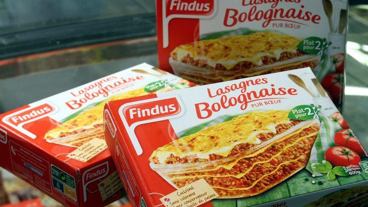 Findus France a annoncé le 8 février 2013 le retrait temporaire des rayons français de trois de ses plats préparés, dont des lasagnes à la bolognaise. En fait de bœuf, ils contiendraient de la viande de cheval. ( / MAXPPP)