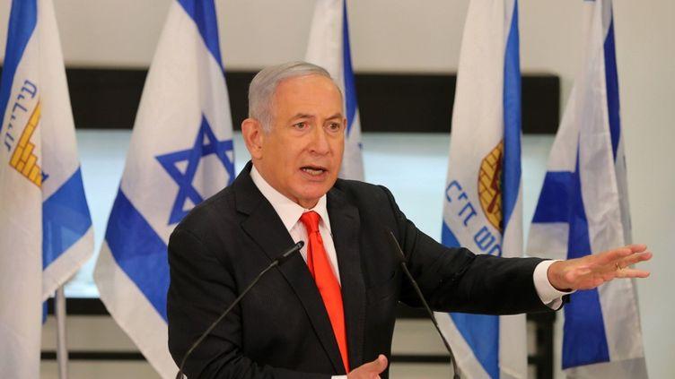 Le Premier ministre israélien, Benyamin Nétanyahou, lors d'une conférence de presse à Beit Shemesh, le 8 septembre 2020. (ALEX KOLOMIENSKY / POOL / AFP)