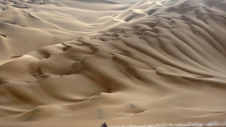 Un coureur moto lors de la 11e étape du Dakar, au Chili, le 12 janvier 2012. (PHILIPPE DESMAZES / AFP)