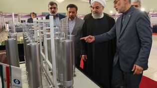Une photo prise par la présidence iranienne montrant le président iranien, Hassan Rouhani, avec le directeur de l'organisation de technologie nucléaire iranienne, Ali Akbar Salehi, le 9 avril 2019 à Téhéran (Iran). (HO / IRANIAN PRESIDENCY / AFP)