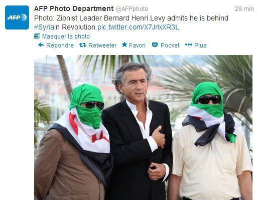 Capture d'écran d'un tweet de l'AFP Photo, dont le compte a été piraté mardi 26 février 2013. ( FRANCETV INFO)