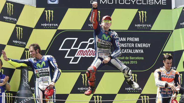 La joie de Jorge Lorenzo après sa victoire en Catalogne.  (JOSEP LAGO / AFP)