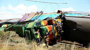 Le train accidenté près deKroonstad, en Afrique du Sud, le 4 janvier 2018. (REUTERS)