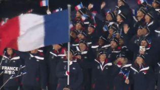 Les athlètes français lors de la cérémonie d'ouverture des Jeux olympiques d'hiver 2018 de Pyeongchang, en Corée du Sud. (FRANCE 2)