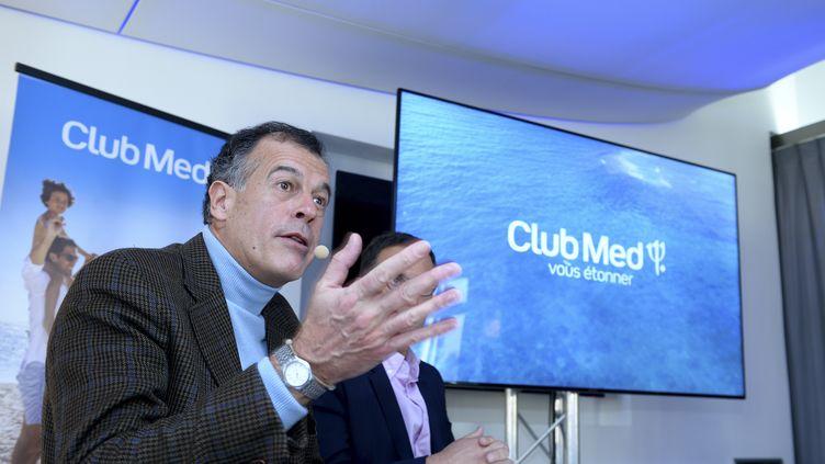 Henri Giscard d'Estaing, le PDG de Club Med, lors d'une conférence de presse à Paris, le 26 janvier 2017 (ERIC PIERMONT / AFP)