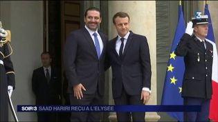 Saad Hariri et Emmanuel Macron à l'Élysée. (FRANCE 3)