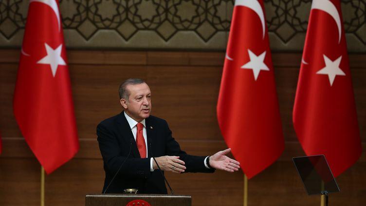 Le président turc Recep Tayyip Erdogan prononce un discours public au palais présidentiel d'Ankara en Turquie, le 4 janvier 2017. (EVRIM AYDIN / ANADOLU AGENCY)