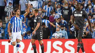 Le milieu de terrain espagnol Mikel Merino a inscrit le but égalisateur pour la Real Sociedad contre Monaco, jeudi 30 septembre 2021. (ANDER GILLENEA / AFP)