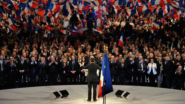 Nicolas Sarkozy au meeting de Villepinte, le 11 mars 2012. (ERIC FEFERBERG / AFP)