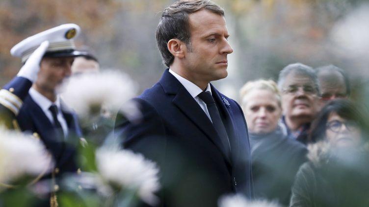 Le président de la République Emmanuel Macron, lors des commémorations du 11-Novembre, en 2017. (FRANCOIS GUILLOT / POOL)