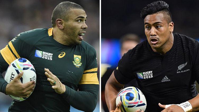 Bryan Habana, l'ailier sud-africain, face à Julian Savea, l'ailier néo-zélandais, deux des stars de la demi-finale
