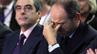 Les deux candidats à la présidence de l'UMP, François Fillon et Jean-François Copé, aux journées parlementaires du parti, le 27 septembre 2012 à Marcq-en-Barœul (Nord). (ALAIN ROBERT / SIPA)