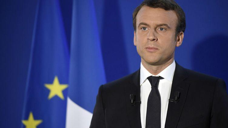 Emmanuel Macron, le 7 mai 2017 à son QG, à Paris. (LIONEL BONAVENTURE/AP/SIPA / AP)